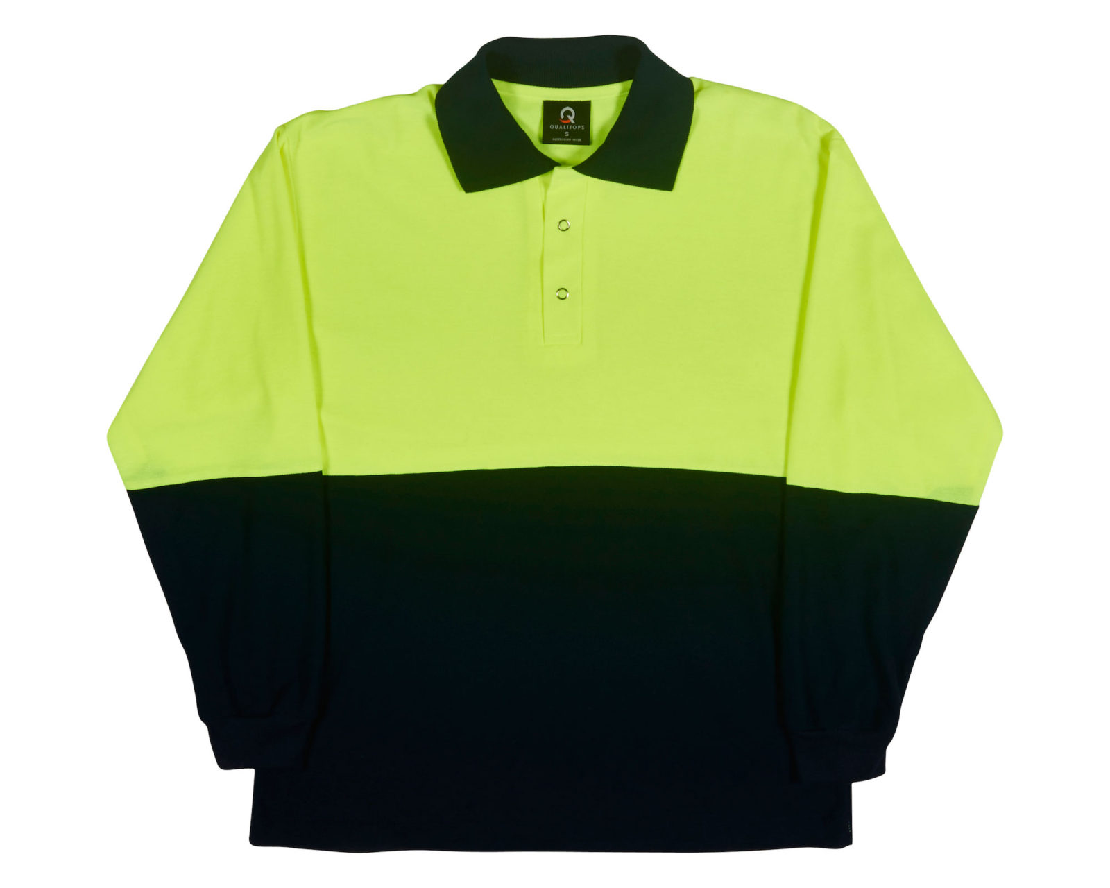 Qualitops Mens Long Sleeve Hi Vis Two Tone Polo Polycotton Australian made clothing