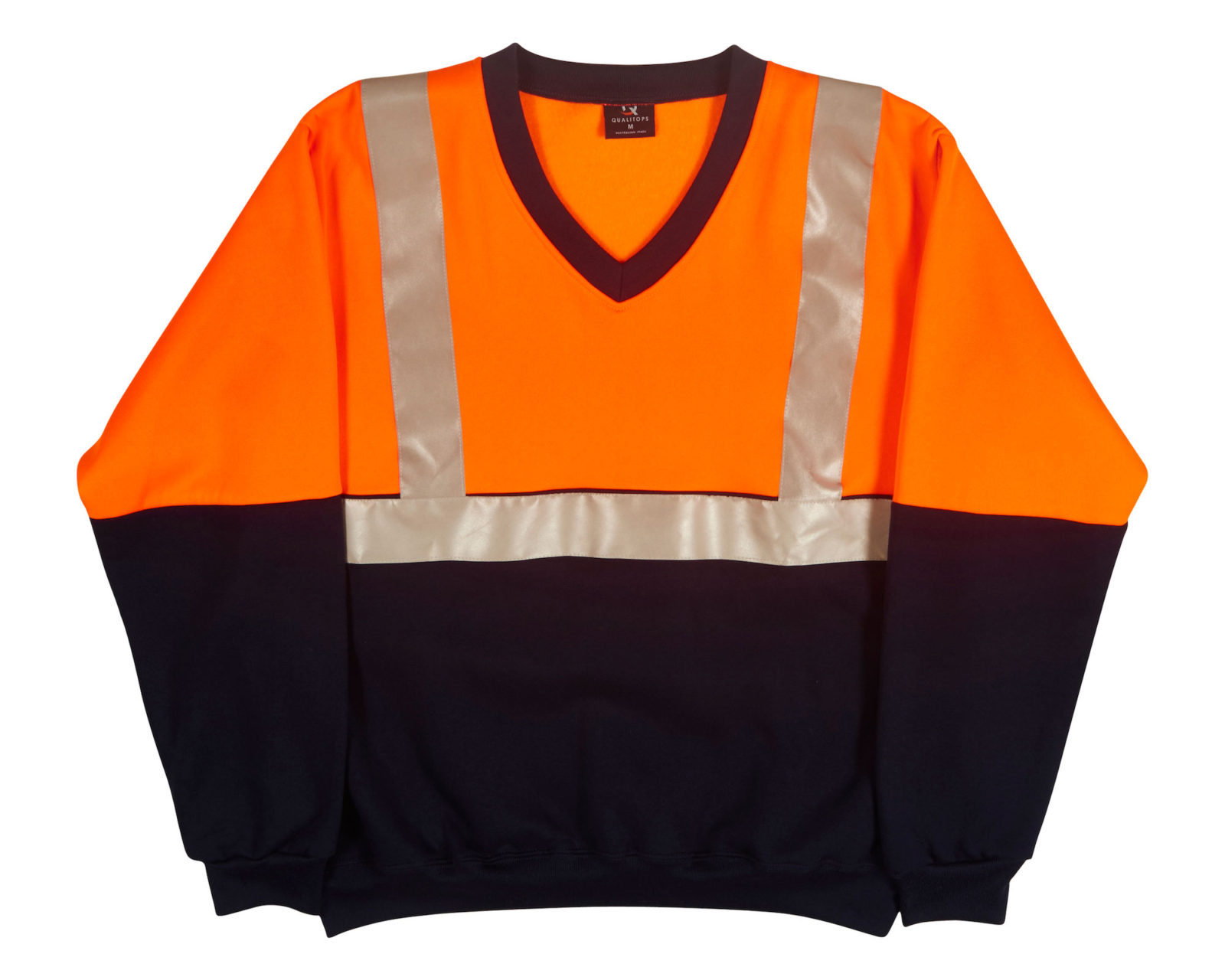 Qualitops Mens Hi Vis Two Tone V Neck Windcheater Reflective Tape Polycotton Australian made clothing