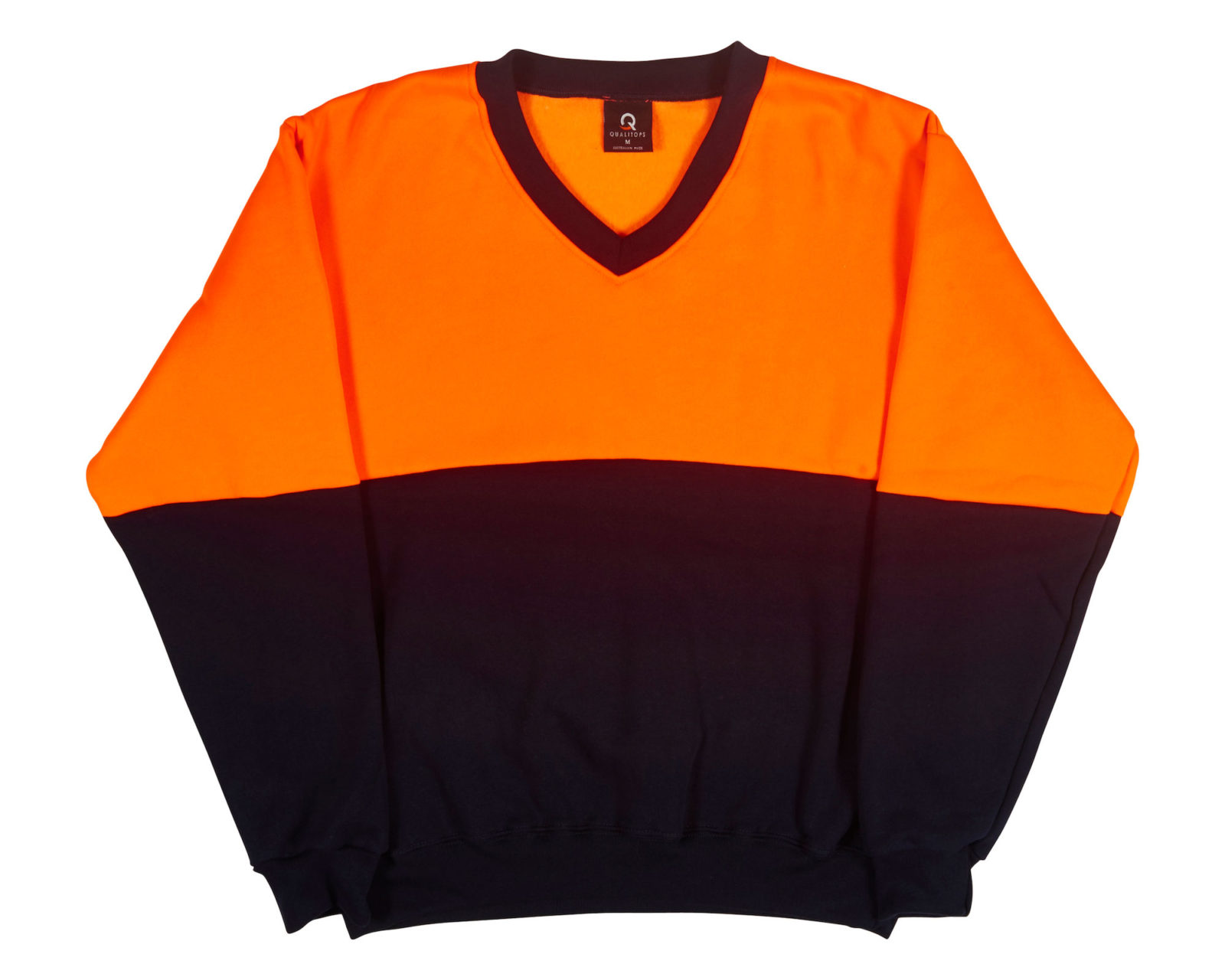 Qualitops Mens Hi Vis Two Tone V Neck Windcheater Polycotton Australian made clothing