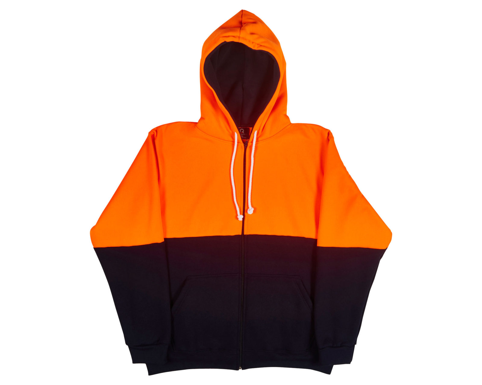 Qualitops Mens Hi Vis Two Tone Zip Hoodie Polycotton Australian made clothing
