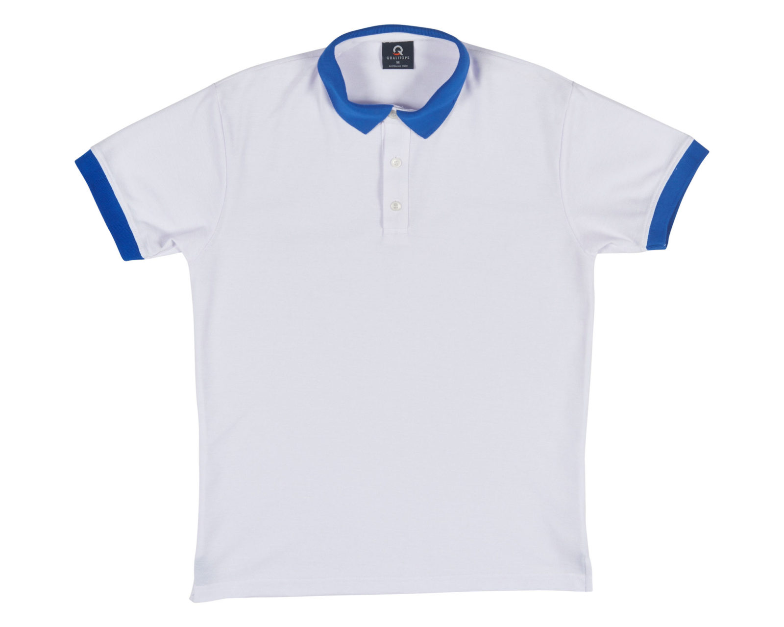 Qualitops Custom Made Mens Two Tone Short Sleeve Cuff Polo Polycotton Australian made clothing