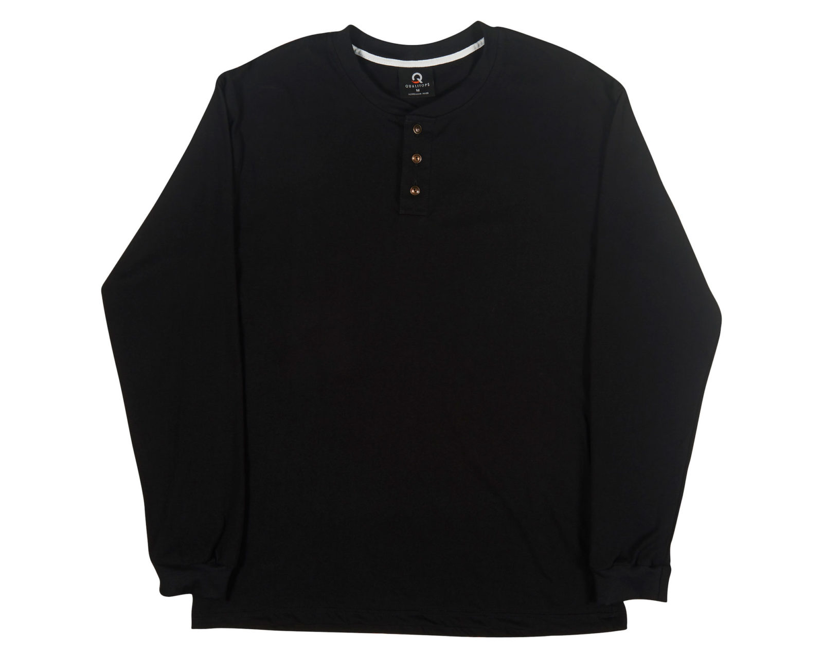 Qualitops Custom Made Mens Henley Long Sleeve Tee Cotton Australian made clothing