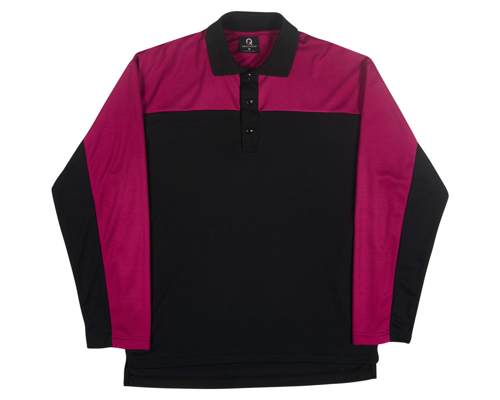 Qualitops Custom Made Mens Two Tone Long Sleeve Polo Polyester Australian made clothing