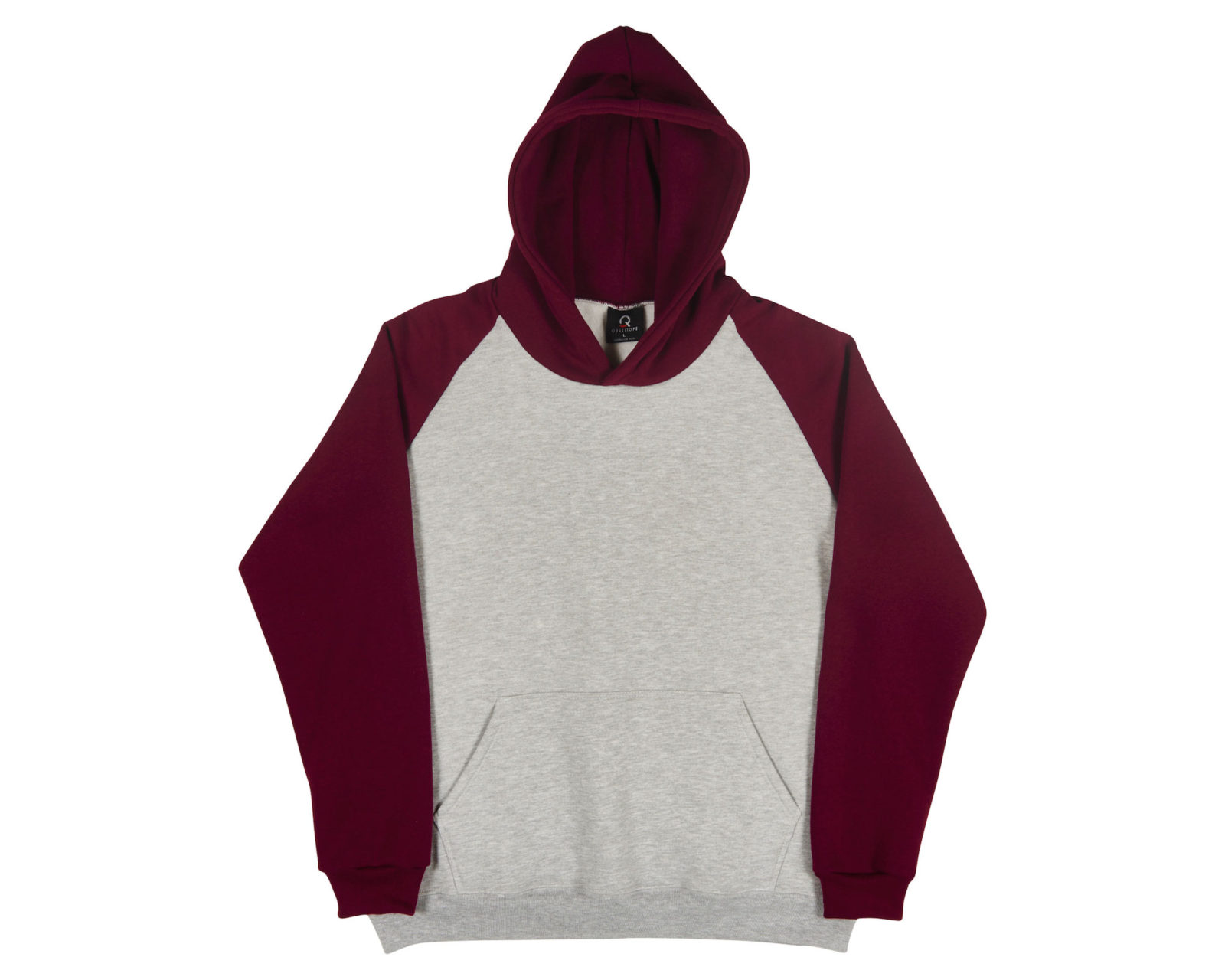 Qualitops Custom Made Mens Two Tone Raglean Sleeve Hoodie Polycotton Australian made clothing