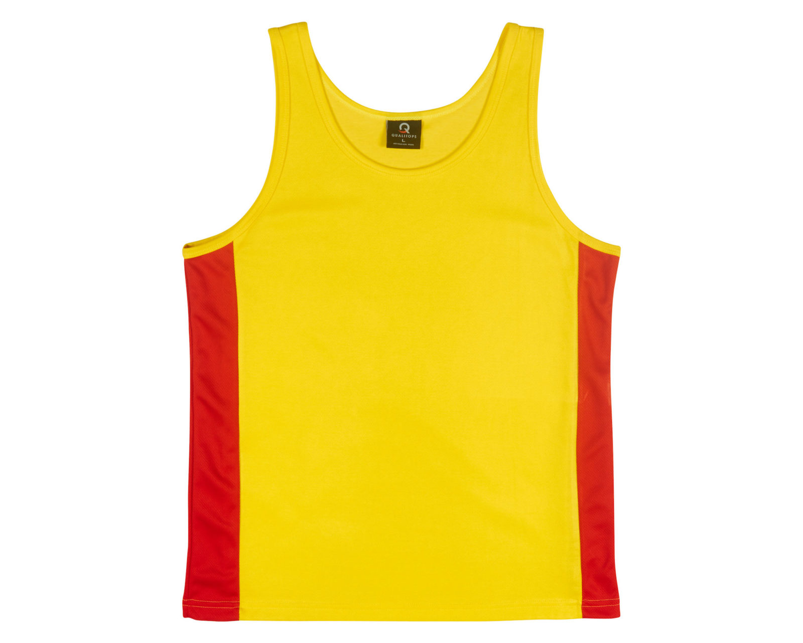 Qualitops Custom Made Mens Two Tone Singlet Polyester Australian made clothing