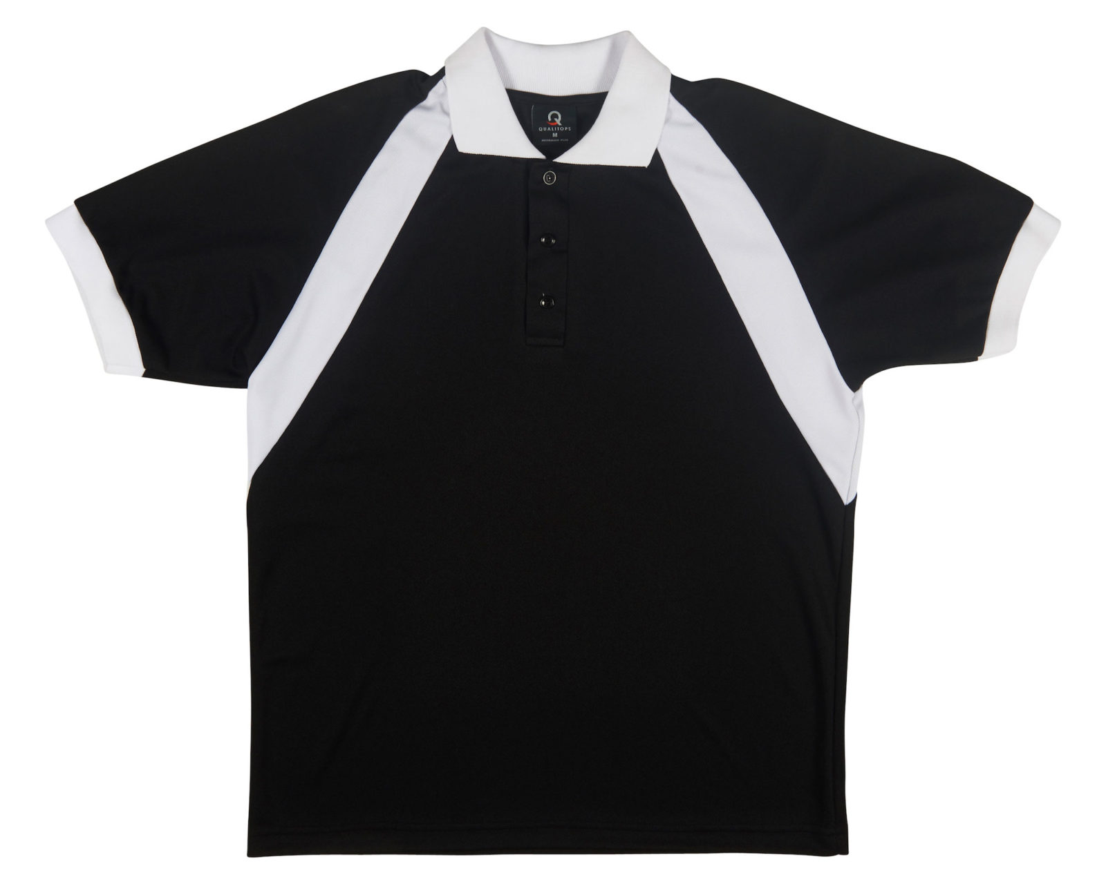 Qualitops Custom Made Mens Two Tone Short Sleeve Polo Polyester Australian made clothing