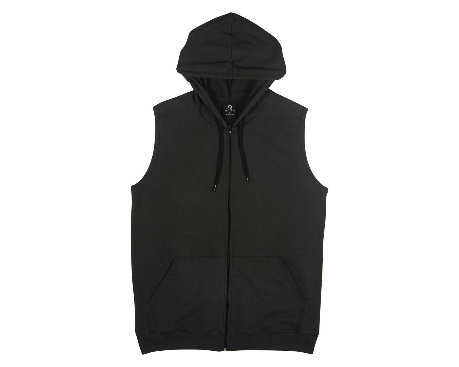 d00e6ce4782b7d Qualitops Custom Made Mens Sleeveless Zip Hoodie Polycotton Australian made  clothing